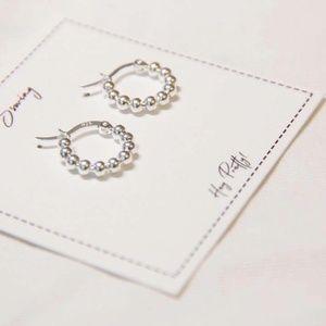 Jewelry - Fine Silver-Mini Silver Ball Hoop Earrings